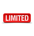 limited red 3d square button isolated on white vector image vector image