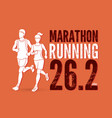 man and woman running together with text marathon vector image vector image