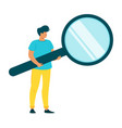 man holding magnifying glass flat character vector image vector image