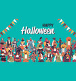mix race people celebrating happy halloween party vector image