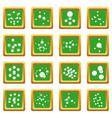 molecule icons set green square vector image vector image