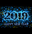 neon blue typography happy new year 2019 in vector image