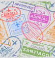 passport stamps pattern seamless page with vector image