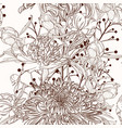 peony flower brown sepia outline seamless pattern vector image vector image