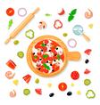 Pizza Set Cartoon Composition vector image