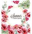 poppy pink flowers card watercolor summer floral vector image vector image