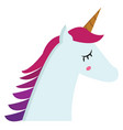 portrait of unicorn side view color on white vector image