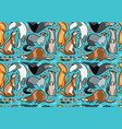 Seamless pattern of cartoon ferrets with beads and