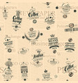 seamless pattern with coffee labels and newspaper vector image vector image