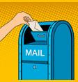 sending letter to mail box pop art vector image vector image