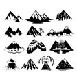 set mountain peaks on white vector image