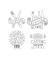 set of 4 monochrome catering service emblems hand vector image vector image