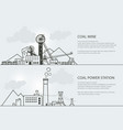 set of banners with coal mining and power station vector image vector image