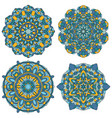 set of multicolored mandala vector image