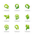 set of nature brain logo design concept brain vector image vector image