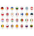set with eu flags made as map pointers vector image vector image