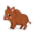 small brown boar stands on a white background vector image vector image