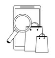 smartphone with magnifying glass and shopping bags vector image vector image
