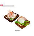 smorrebrod with roast beef the national dish of de vector image vector image