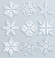 snow decorations set of paper snowflakes vector image