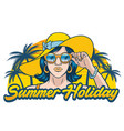 summer holiday design with girl wearing sunglasses vector image vector image
