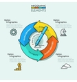 Thin line minimal arrow business cycle infographic vector image