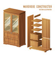 wardrobe construction or built-in closet design vector image