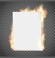 white empty sheet paper on fire vector image vector image