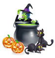 witch cartoon halloween scene vector image vector image