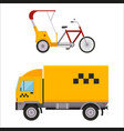Yellow taxi truck varn rickshaw bike