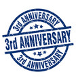 3rd anniversary blue round grunge stamp vector image vector image