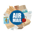 air mail letters and parcels in vector image