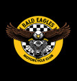 bald eagle badge grip the motorcycle engine vector image vector image