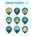 Beach entertainment pin map icon set Vacation vector image vector image