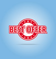 best offer label red color isolated on white vector image vector image