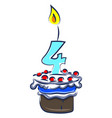 birthday cake with number four on white vector image vector image