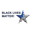 black lives matter with star in american police vector image vector image