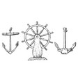 boat s wheel and sea anchor marine sketch vector image