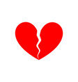 broken heart end love symbol parting vector image