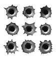 bullet holes in metal on white vector image