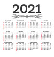calendar 2021 isolated on white background week vector image