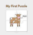 cartoon cow puzzle template for children vector image vector image
