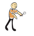 cartoon man holding a magnifying glass vector image