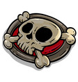 cartoon skull with crossed bones icon vector image vector image