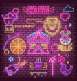 circus neon glowing icons vector image