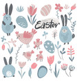 collection of rabbits chicken and flowers vector image vector image