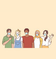 coronavirus disease and multi ethnic youth friends vector image