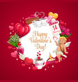 cupid hearts and valentines day holiday flowers vector image vector image