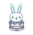 degraded line kawaii cute rabbit head and donuts vector image vector image