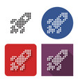 dotted icon space rocket in four variants with vector image